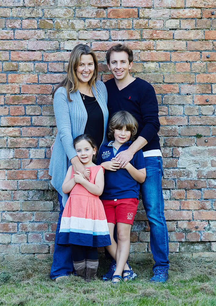 Rustic wall and family