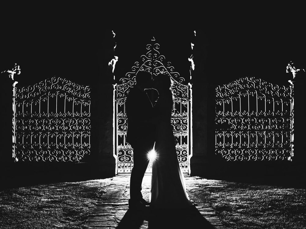 Old Down Manor wedding photography - backlit shot
